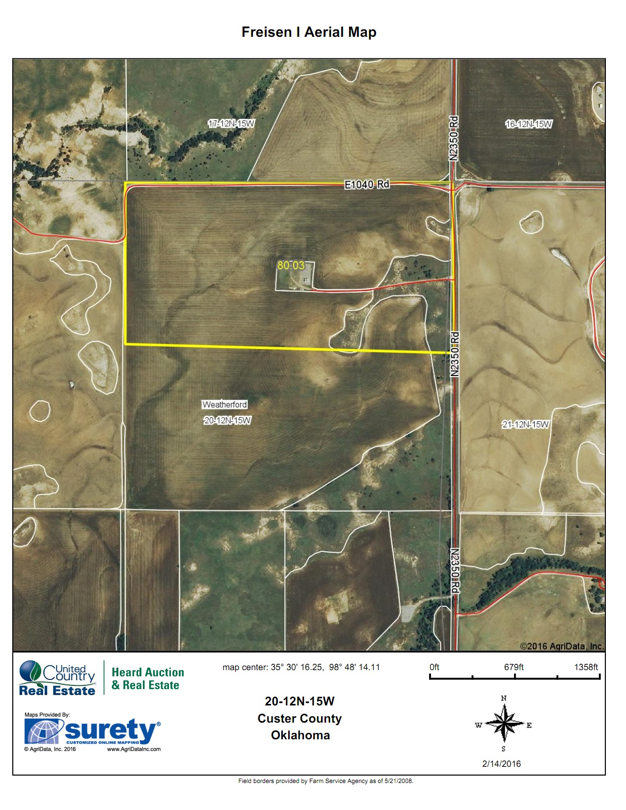 Oklahoma Farm for Sale, Custer County, Tract 3