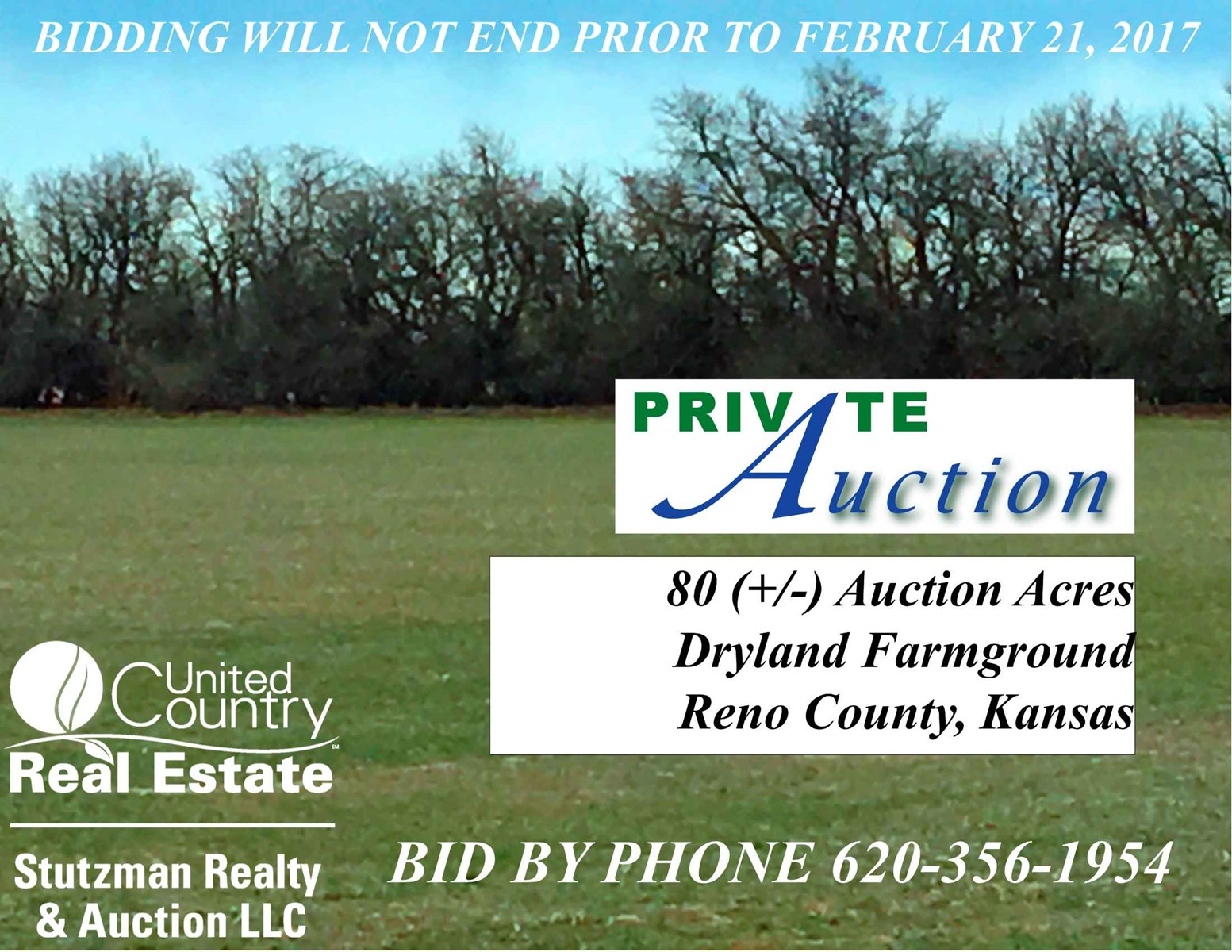 PRIVATE AUCTION 80 ACRES DRYLAND FARM in RENO COUNTY  KS