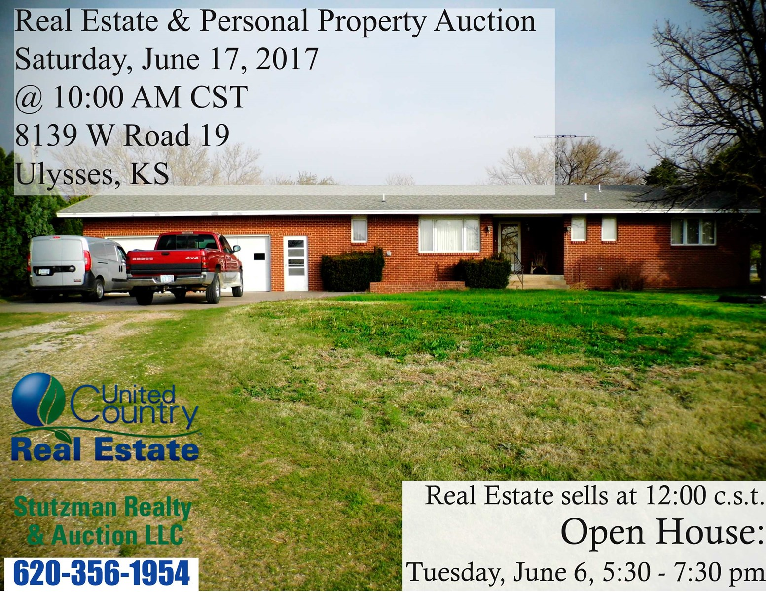 BRICK HOME UP FOR PUBLIC AUCTION JUNE 17, 2017 IN ULYSSES KS