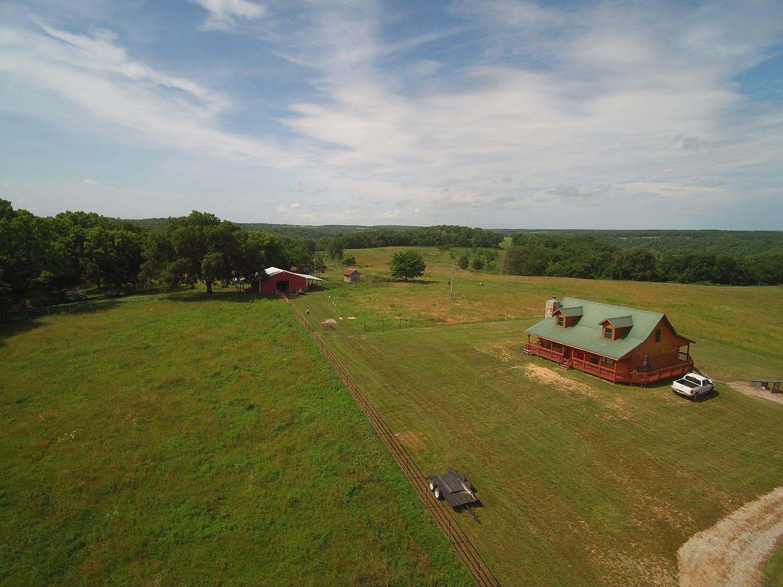 85 Acre Farm for Sale in Douglas County, Cedar Log Home