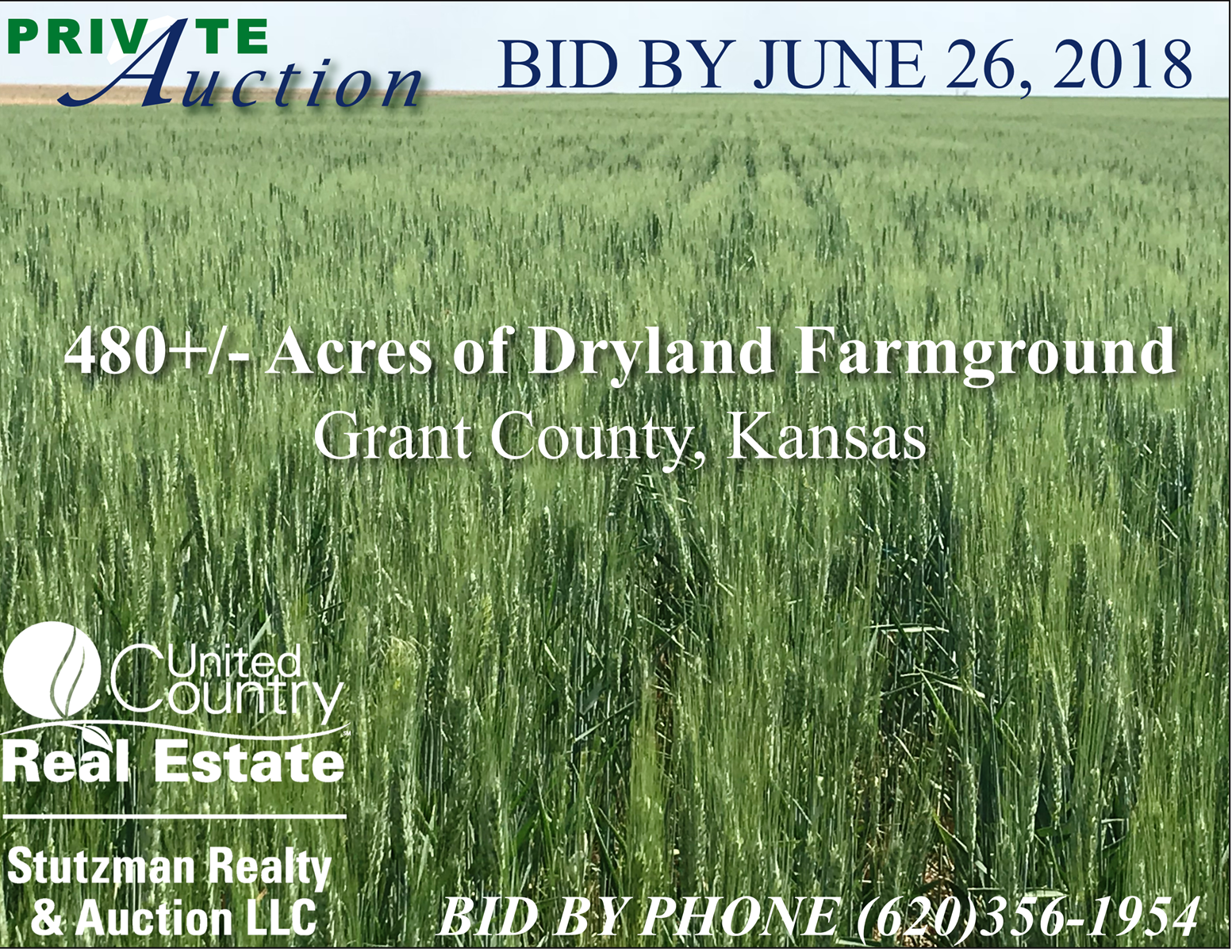 PRIVATE AUCTION ~ GRANT COUNTY KS ~ 480 +/- ACRES FARMGROUND