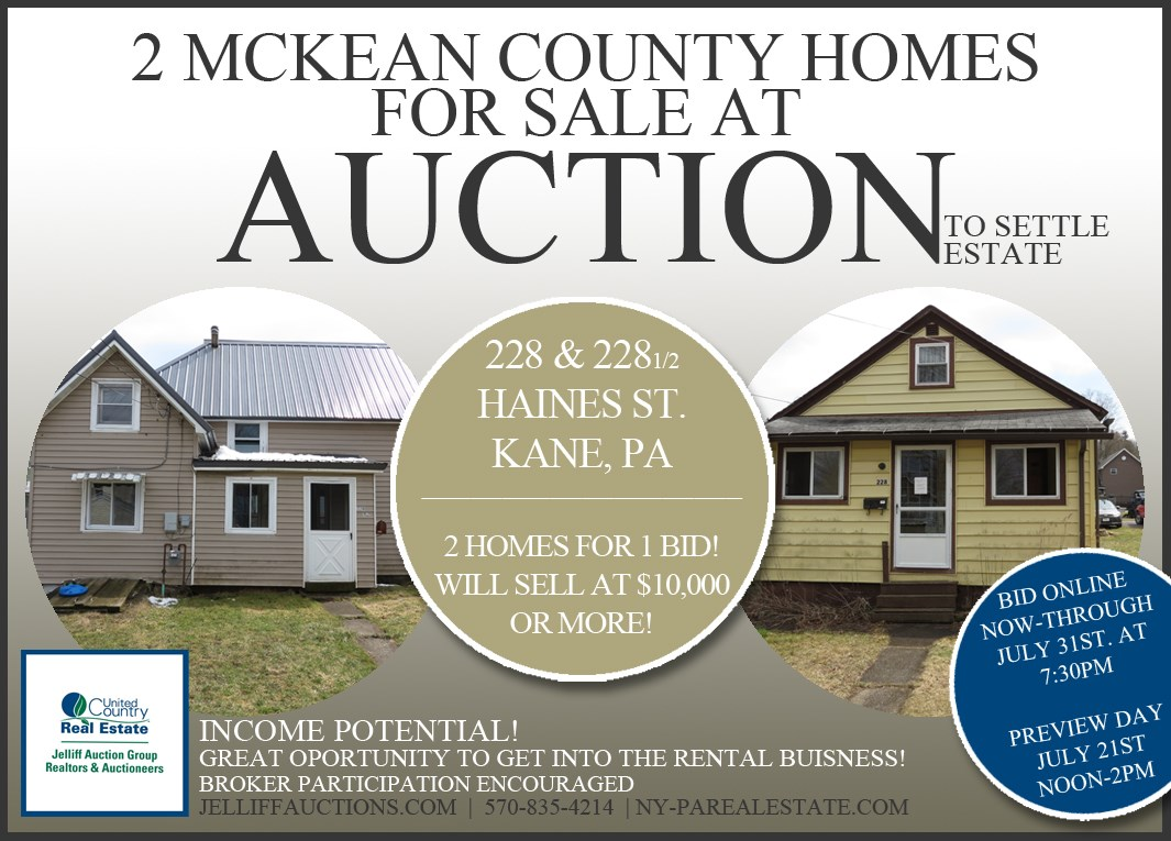 Income Opportunity in McKean County, PA for Sale at Auction
