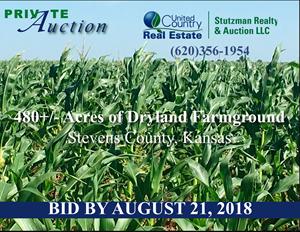 PRIVATE AUCTION ~ STEVENS COUNTY, KS 480+/- ACRES FARMGROUND