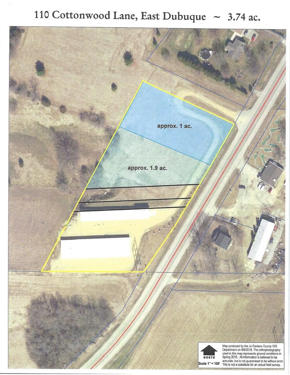 One acre level commercial building site East Dubuque IL