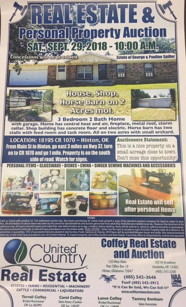 Caddo County Home For Sale on 2 acres    Sept  29 at 10 00 AM