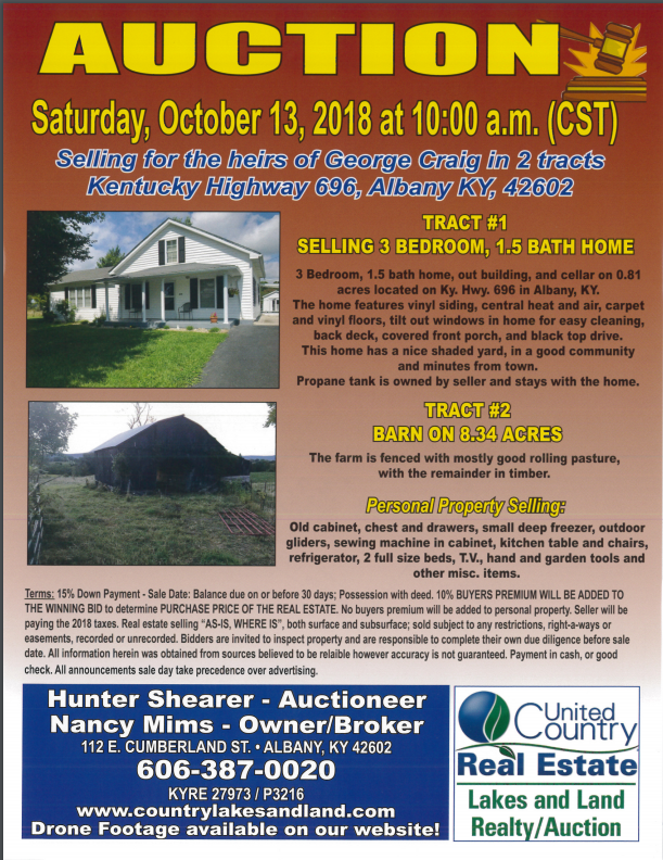 Auction. October 13, 2018 10:00 am.
