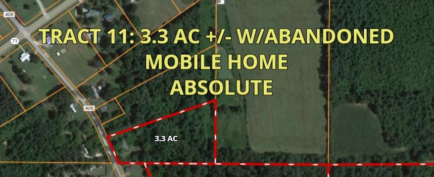 Land Auction Tract #11 - 3.3 Acres w/Abandoned Mobile Home