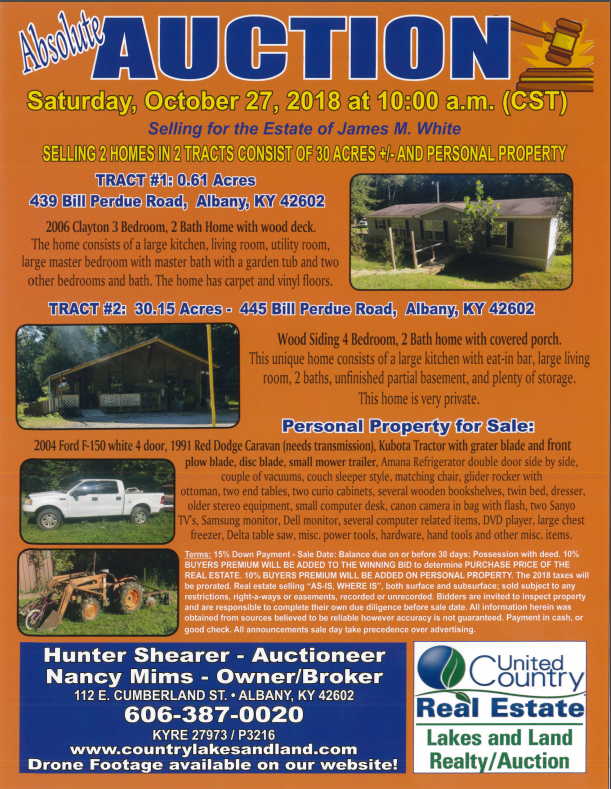 ABSOLUTE AUCTION OCTOBER 27, 2018  10:00 AM