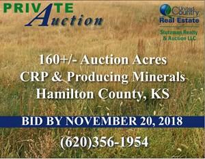 160+/- ACRES OF CRP & PRODUCING MINERALS HAMILTON CO., KS (