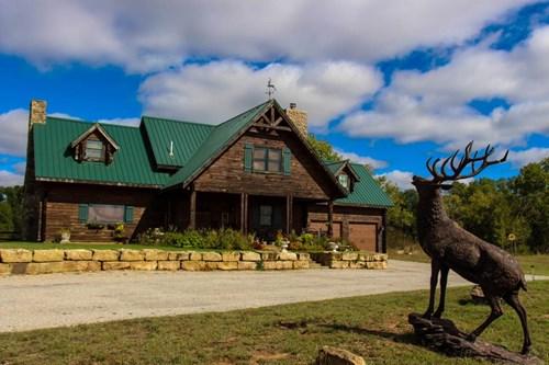 154.5 Acre Log Cabin Lake Home - CRP - Kansas Hunting Land