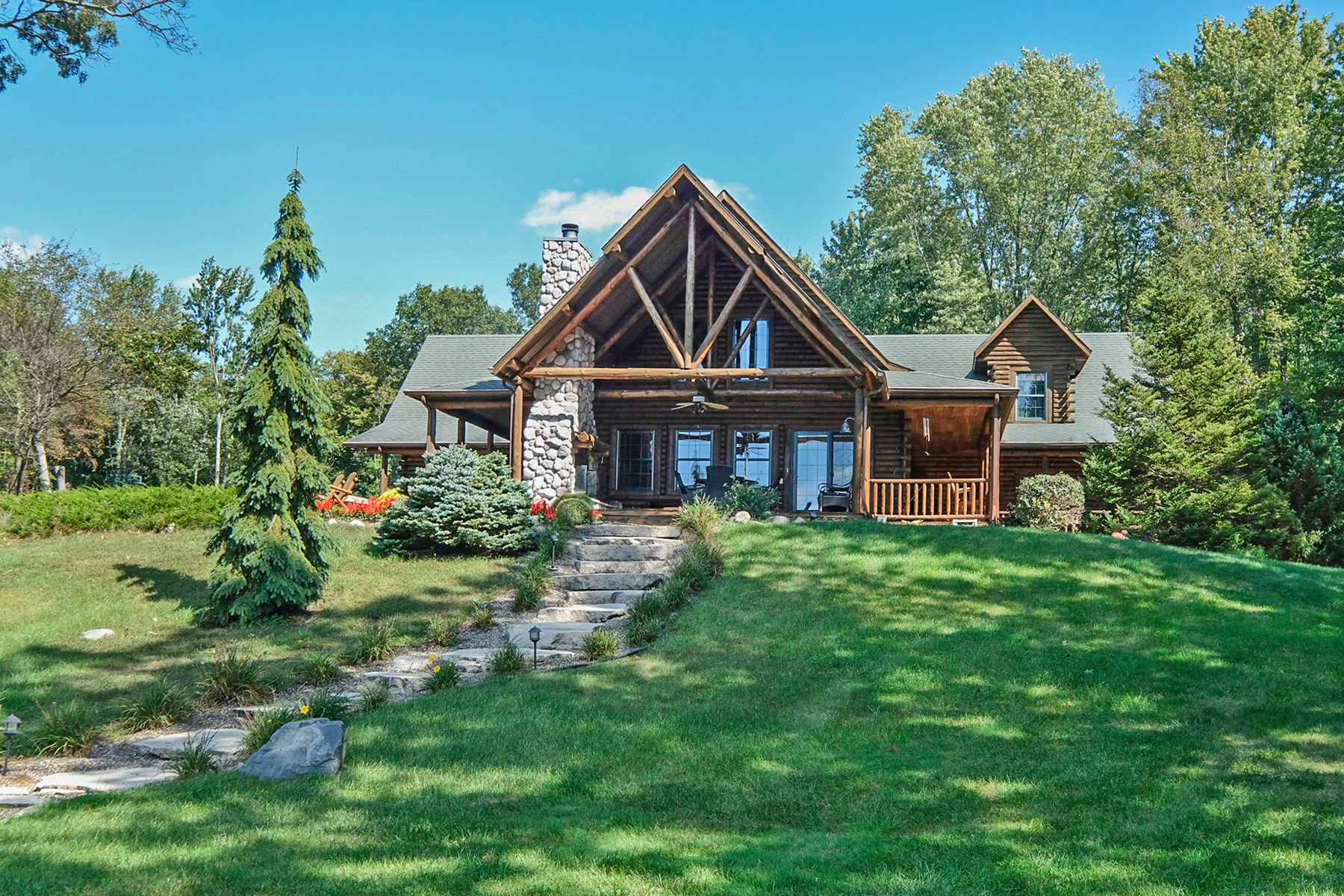 Southwest Michigan Waterfront Log Home