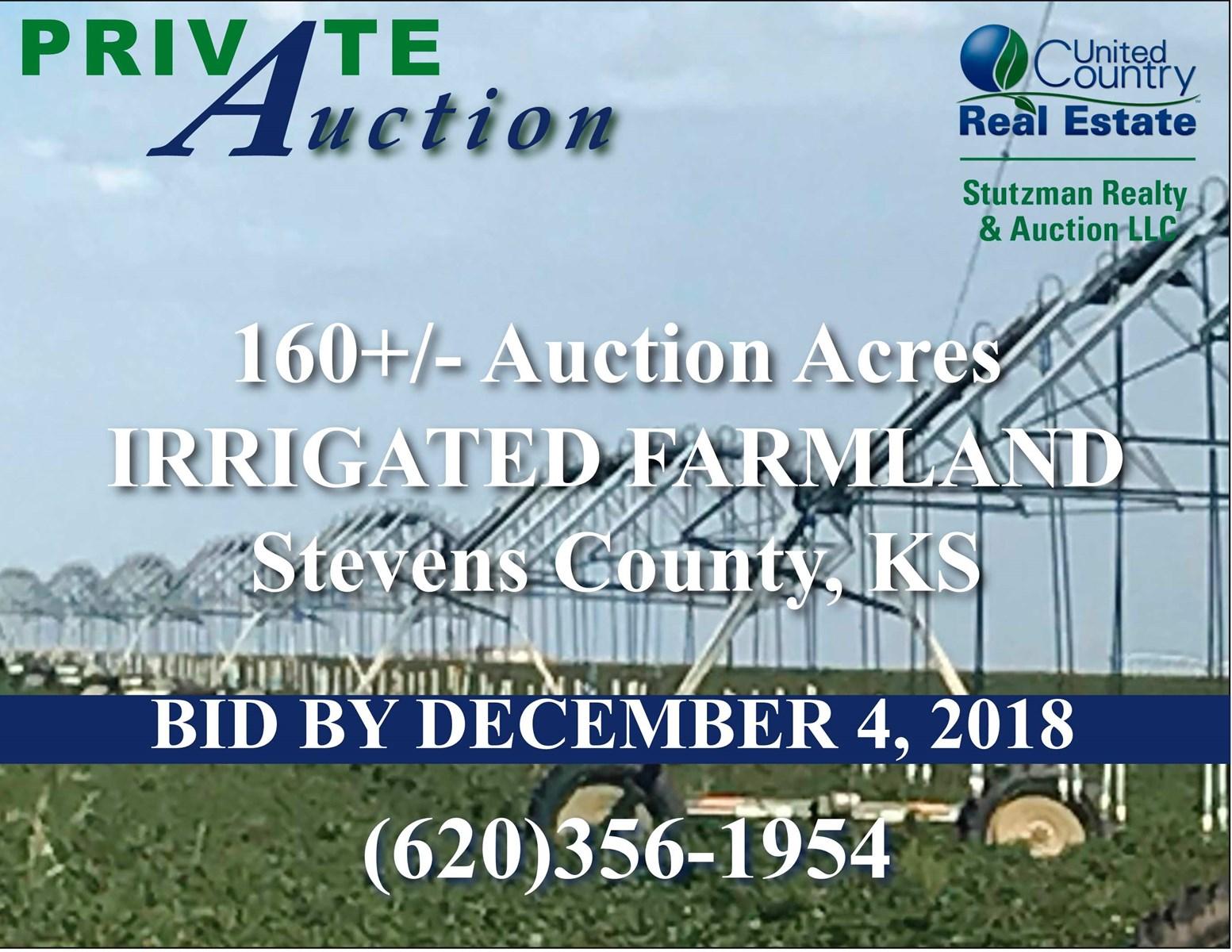 160+/- ACRES OF IRRIGATED FARMLAND - STEVENS COUNTY, KANSAS