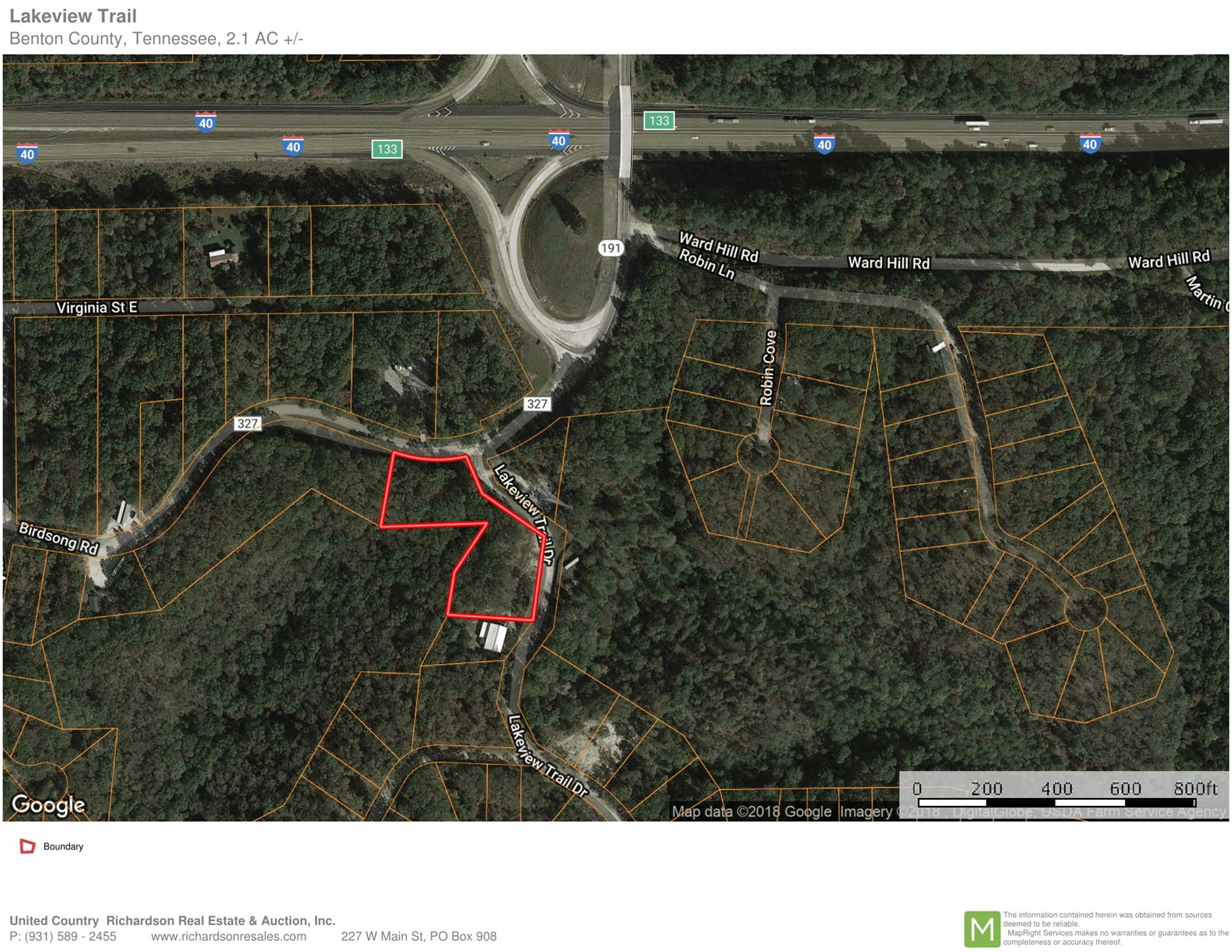 2.1 Wooded Acres Near Interstate I-40 & Tn River $7,500