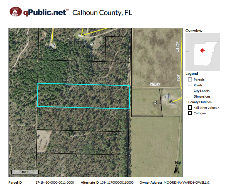 Private 10 acres for sale in Calhoun County Florida