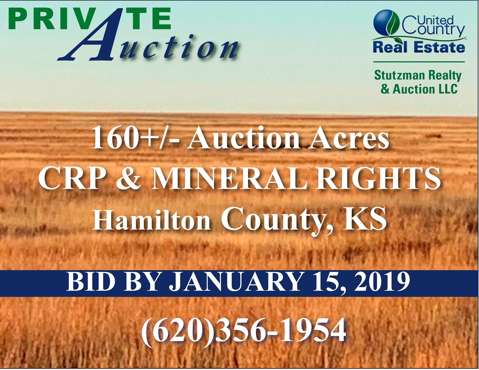 HAMILTON COUNTY, KS - 160+/- ACRES OF CRP & MINERAL RIGHTS