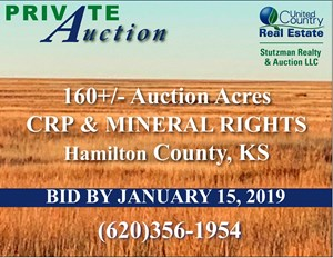 HAMILTON COUNTY, KS - 160+/- ACRES OF CRP & MINERAL RIGHTS