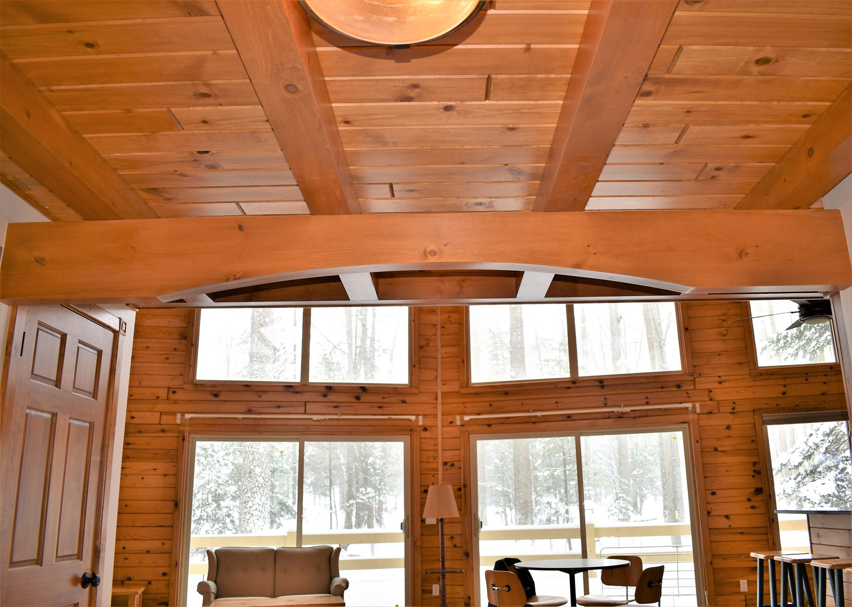 Foyer Ceiling Beams & View to Great Room