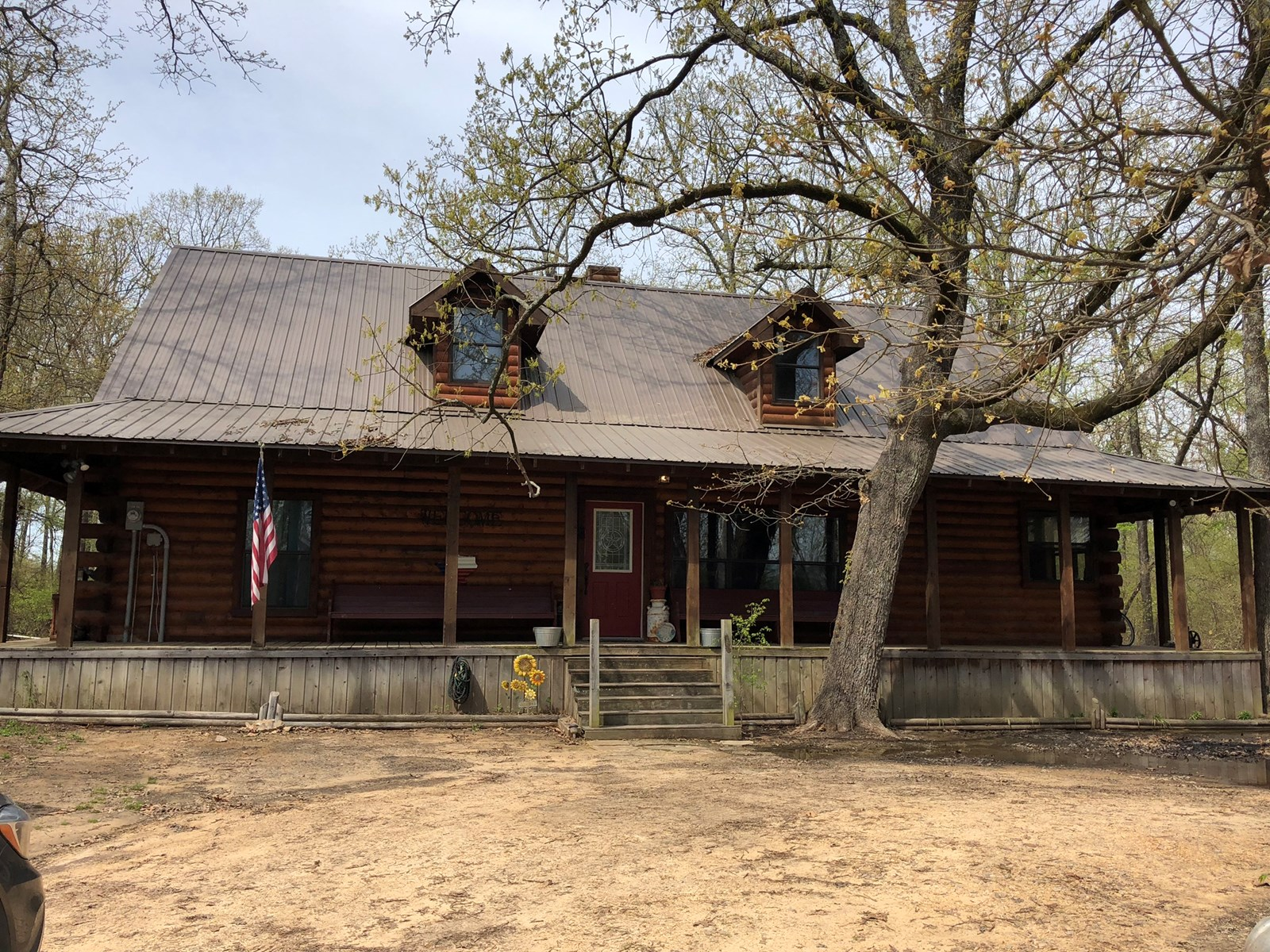 Log Cabin Country Home Property For Sale Blossom Texas