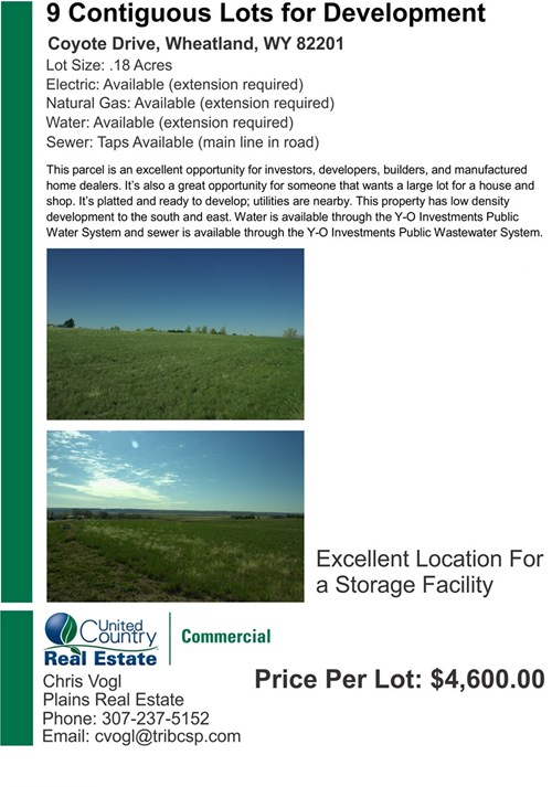 Large 9 Individual Lots for Sale May Sell in 2-3 Lot Parcels