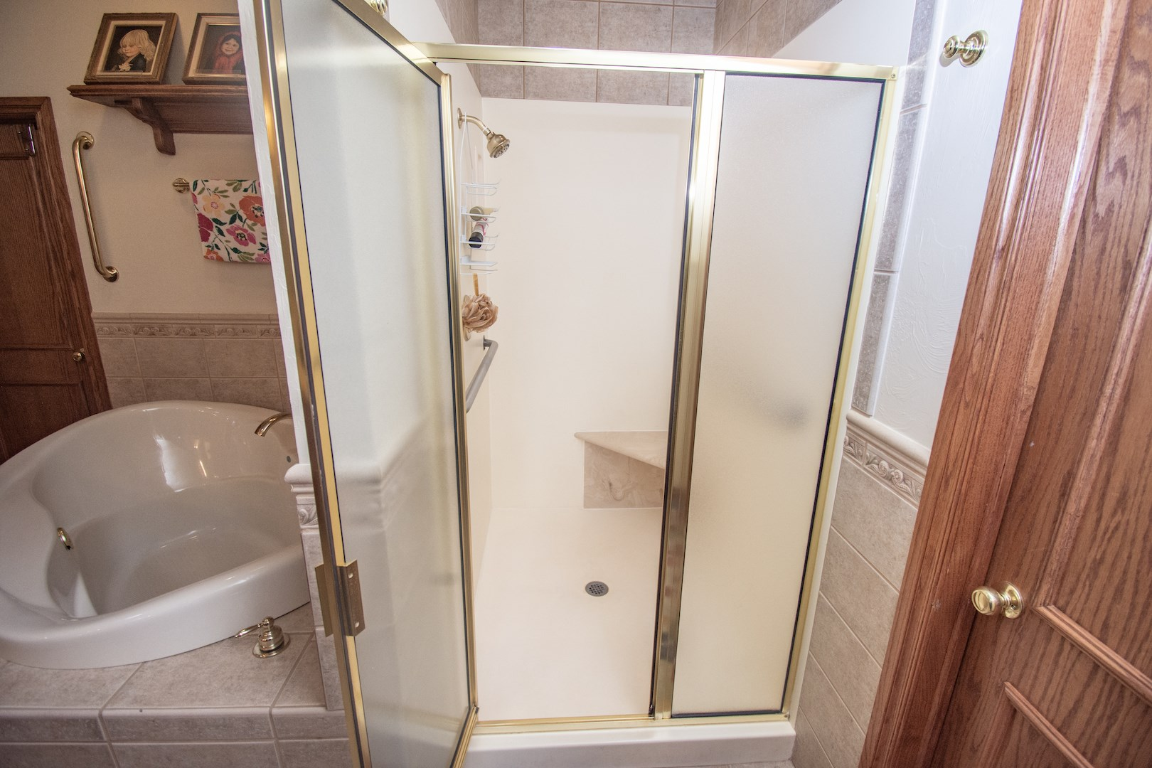 Oversized shower in master bathroom.