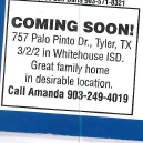 RESIDENTIAL HOME FOR SALE EAST TEXAS WHITEHOUSE SCHOOLS