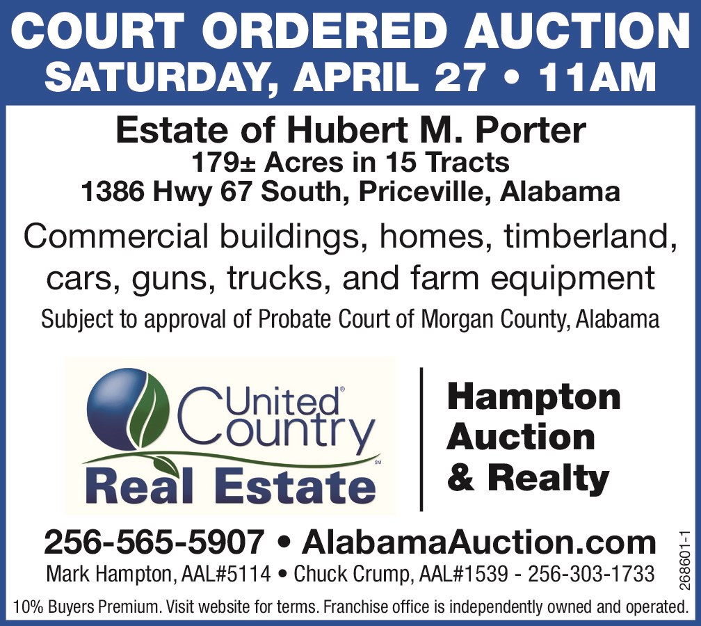 COURT ORDERED AUCTION - ESTATE OF HUBERT M. PORTER REAL ESTATE