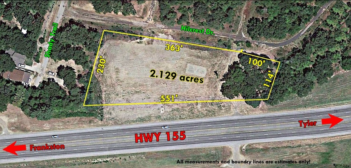 COMMERCIAL LAND WATER VIEW OF LAKE PALESTINE HWY FRONTAGE