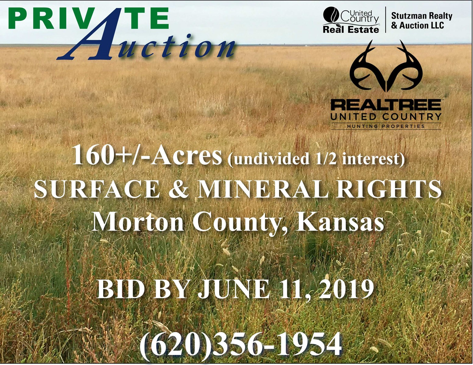 MORTON COUNTY, KS 160+/- ACRES UNDIVIDED 1/2 INTEREST SURFACE & MINERALS