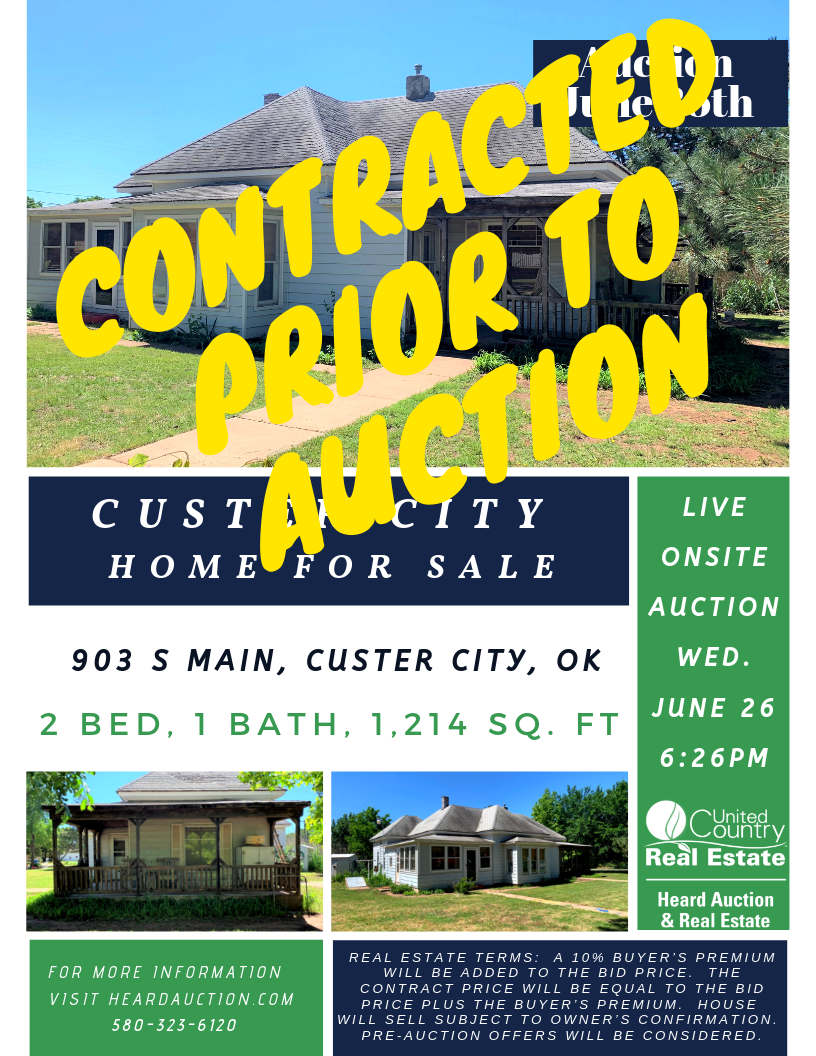 House to Auction, Custer City, OK – Custer County
