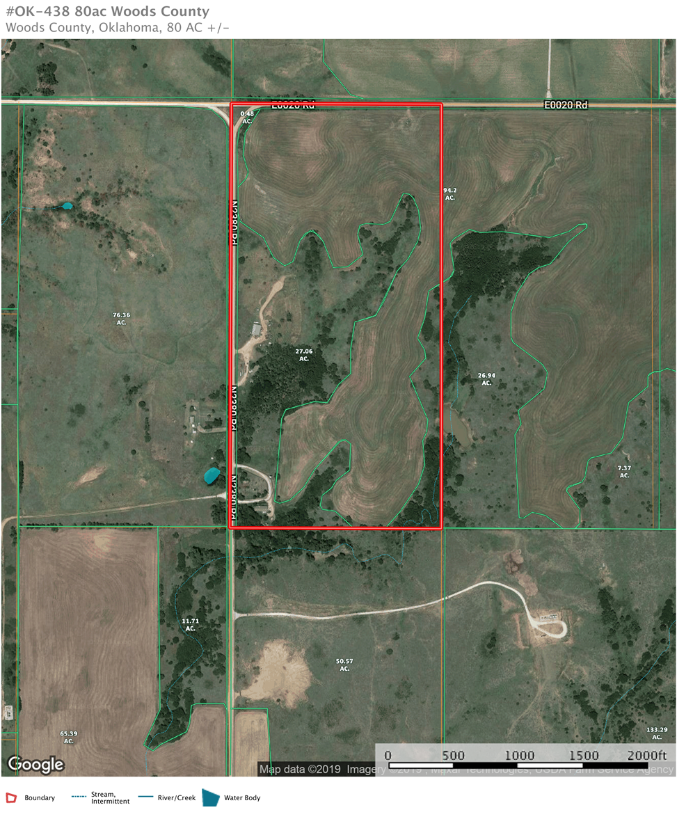 80 acres Woods County, Oklahoma Land for sale